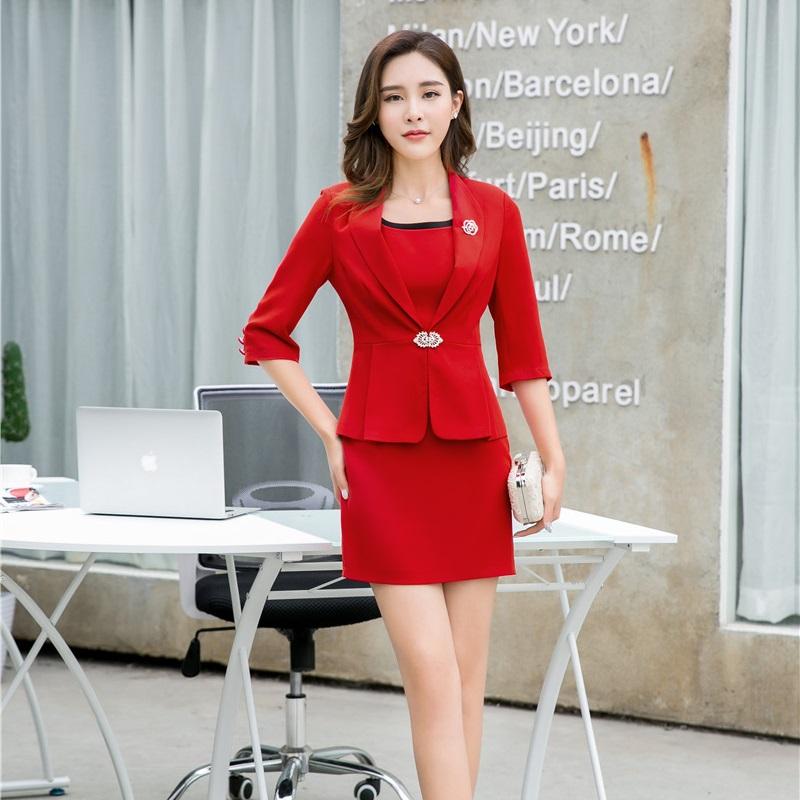 [해외]레드 블레이저 여성 비즈니스 정장 공식적인 사무실 의상 작업 숙녀 복장 및 자켓 세트 사무실 제복 스타일/Red Blazer Women Business Suits Formal Office Suits Work Ladies Dress and Jacket Sets O