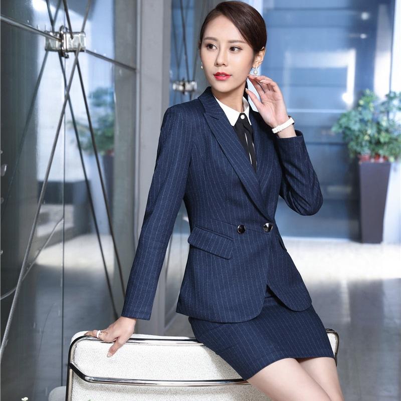 [해외]패션 줄무늬 전문 유니폼 공식 OL 스타일 근무 정장 재킷 및 숙녀 들어 복장 블레 이저 복장 플러스 크기 3XL/Fashion Striped Professional Uniform Formal OL Styles Work SuitsJackets And Dress