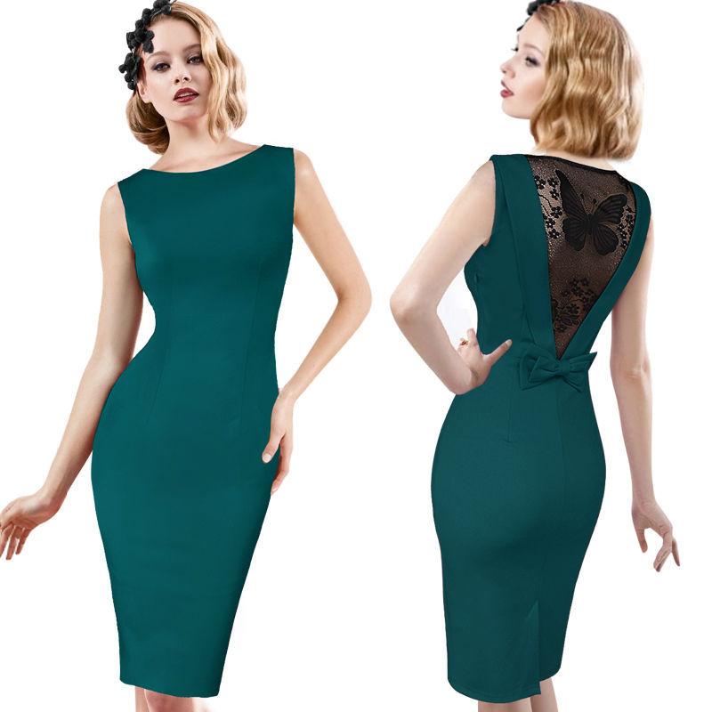 [해외]여자 우아한 빈티지 레이스 튜닉 슬리브 매력적인 캐주얼 작업 사무실 파티 연필 칼집 Bodycon Vestidos 원피스 복장/Women Elegant Vintage Lace Tunic Sleeve Charming Casual Work Office Party P