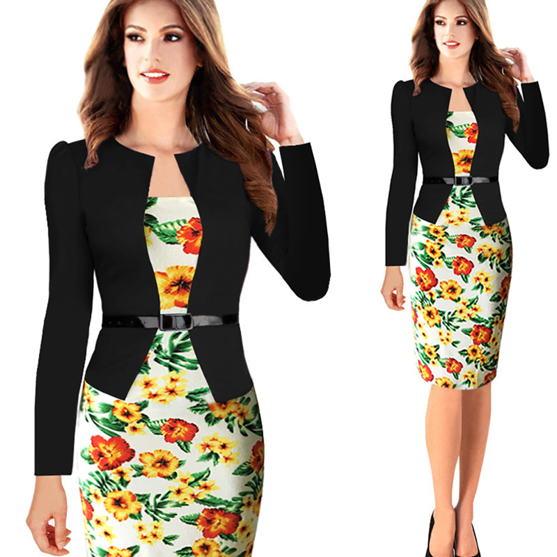 [해외]여성 가을 ??레트로 가짜 재킷 원피스 복장 꽃 대조 패치 워크 착용 작업 사무실 파티 파티 드레스/Women Autumn Retro Faux Jacket One-Piece Dress Suit Floral Contrast Patchwork Wear To Work