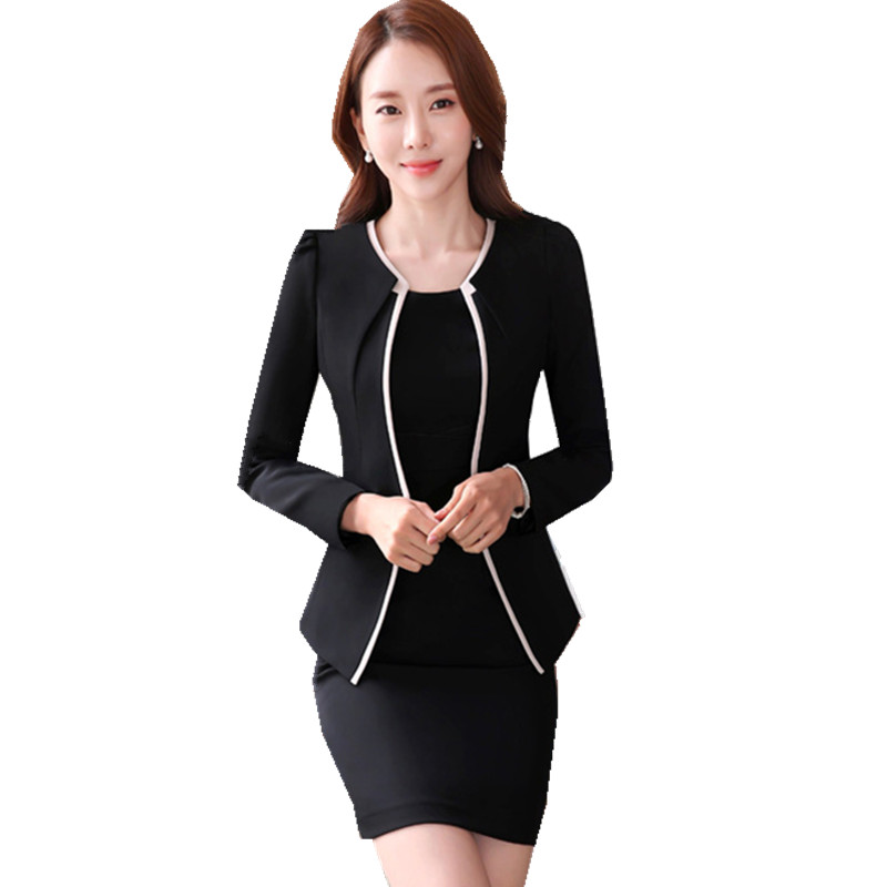 [해외]Fmasuth 정장 비즈니스 정장 Full Sleeve Blazer + Short Sleeve Black Dress 2 개 세트 Feminino 4XL 정장 ow0362/Fmasuth Formal Business Suit for Work Full Sleeve B