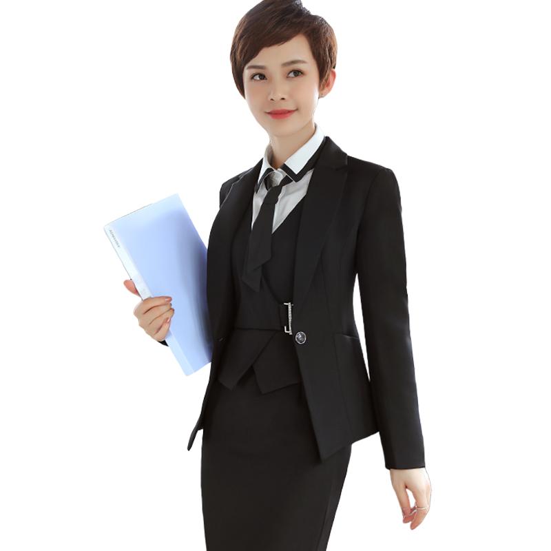 [해외]여성 의류 정장 비즈니스 정장 슬림형 긴팔 블레이즈 에리스 3 점 세트 정장 여성 의류 워크웨어/3 pieces set women suits fashion business formal slim long sleeve blazeroffice uniform dress