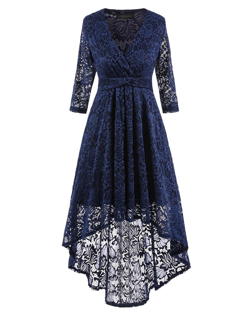 [해외]여자 우아한 자수 레이스를 통해 보자 파티 저녁 V 넥 원피스 복장 특별 행사 Vestidos 3/4 Sleeve Dress/Womens Elegant Embroidery See Through Lace Party Evening V-neck One Piece Dr