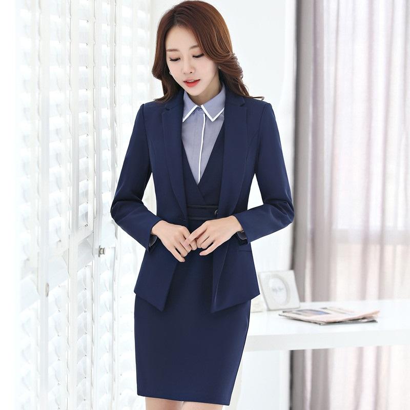 [해외]공식 유니폼 디자인 전문 비즈니스 정장 3 블레 이저 + 드레스 + 블라우스 숙녀 블레이저 세트 가을 겨울/Formal Uniform Design Professional Business Suits3 Piece Blazer + Dress + Blouse For L