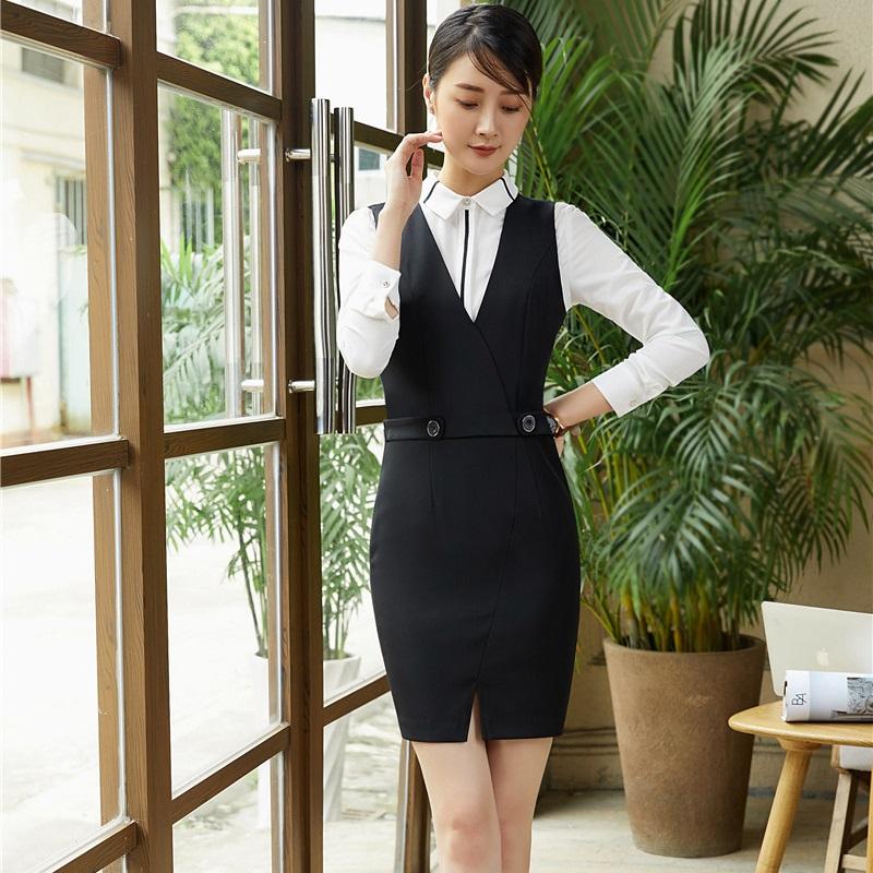 [해외]형식 제복 스타일 작업 블레 이저 정장 블라우스 및 복장 숙녀 사무용 전문 복장 세트 플러스 크기/Formal Uniform Styles Work Blazers SuitsBlouse And Dress For Ladies Office Professional Out