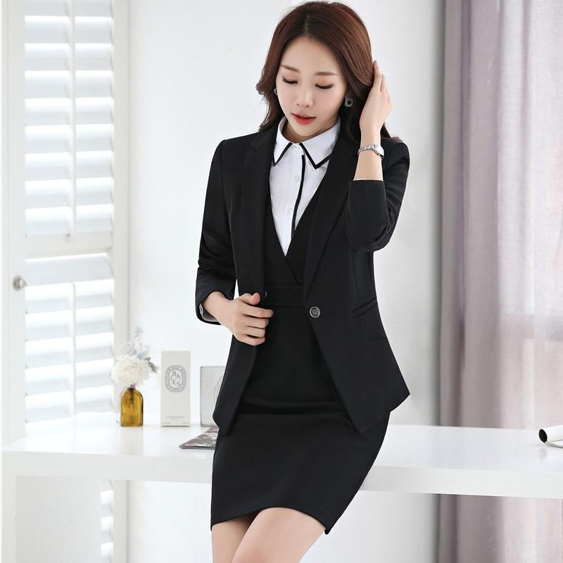 [해외]새로운 슬림 패션 2017 가을 겨울 비즈니스 SuitsBlazer + 숙녀 블레이져 세트 플러스 사이즈/New Slim Fashion 2017 Autumn Winter Business SuitsBlazer + Dress For Ladies Blazers Set