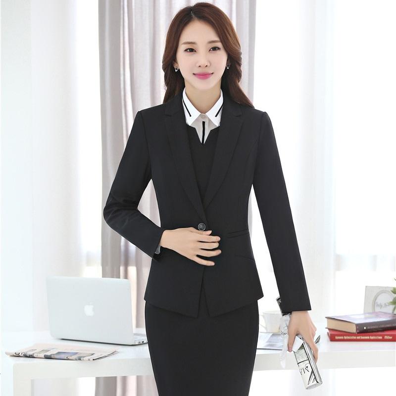 [해외]공식 유니폼 디자인 슬림 패션 2017 가을 겨울 비즈니스 SuitsBlazer + 숙 녀 블레 이저 세트 드레스 플러스 크기 4XL/Formal Uniform Design Slim Fashion 2017 Autumn Winter Business SuitsBla