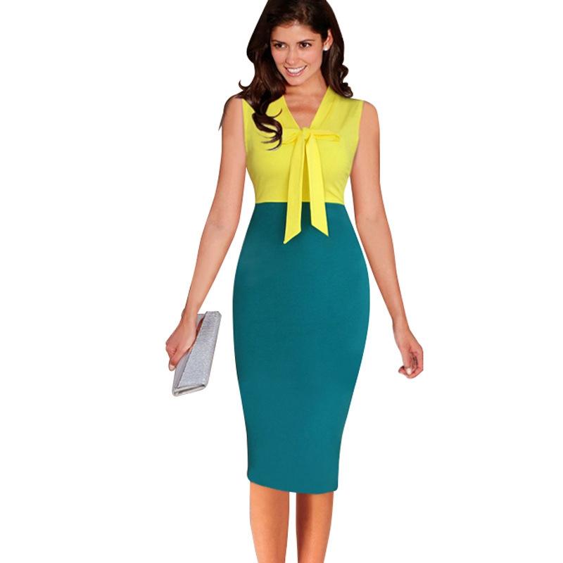 [해외]여자 우아한 바지 민Retail 높은 허리 패션 무릎 한 조각 복장 캐주얼 작업 파티 칼집 Bodycon 연필 오피스 드레스/Womens Elegant Bow Sleeveless High Waist Fashion Knee One Piece Dress Suit C