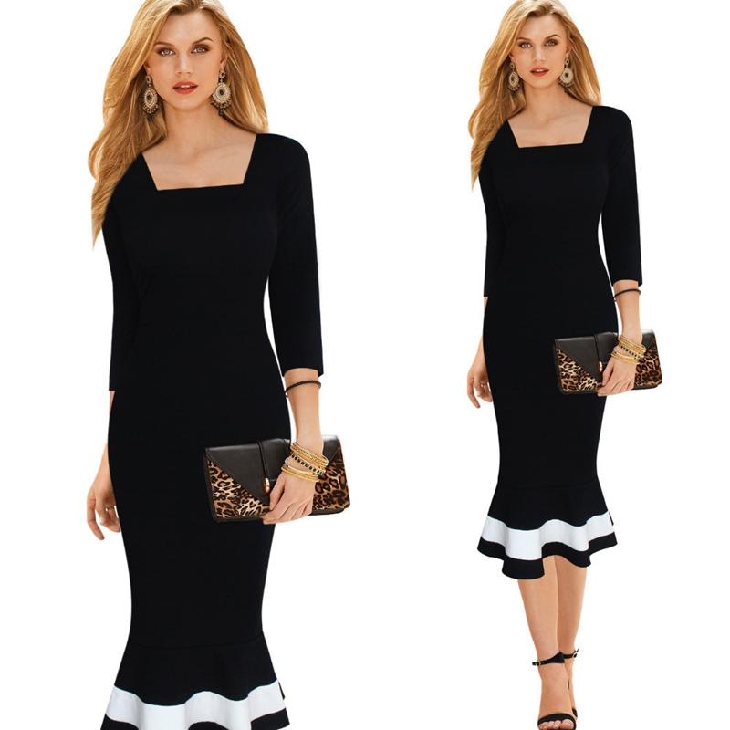 [해외]여자 우아한 빈티지 블랙 화이트 인쇄 핀업 스트레치 원피스 복장 캐주얼 파티 Bodycon 맞추기 인어 미디 중순 송아지 드레스/Womens Elegant Vintage Black White Print Pinup Stretch One Piece Dress Sui