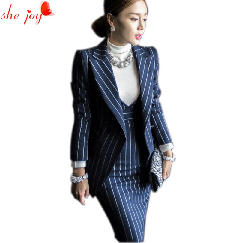 [해외]오피스 레이디 복장 정장 세트 2pc 블레이저 + 드레스 스트립 여성 & 드레스 정장 투피스 여성 블레이져 가운 정장 여성 Vestidos/Office Lady Dress Suit Set 2pc Blazer + Dress Strip Women&s Dres