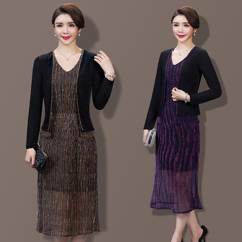 [해외]2 조각 패션 2017 봄 가을 복장 여성 작업 착용 정장 블랙 색상 플러스 크기 중년 노년 옷/2 Pieces Fashion 2017  Spring Autumn Dress Women Work Wear Set Suits Black Color Plus Size M