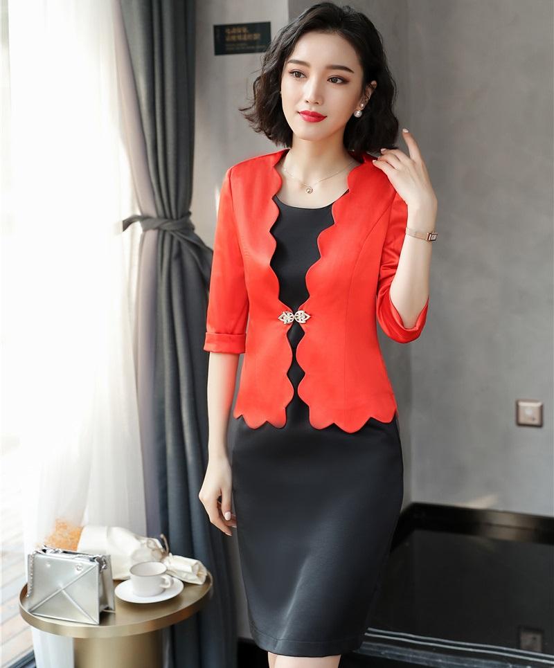 [해외]2018 봄 여름 OL 스타일 블레이즈 수트 여성용 비즈니스 드레스 여성 의류 사무실 복장 세트 플러스 사이즈 오렌지/2018 Spring Summer OL Styles Blazes SuitsDress For Women Business Work Wear Ladi