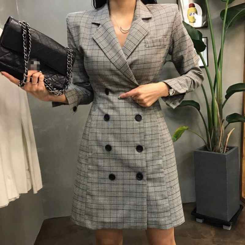 [해외]2018 새로운 유럽 패션 여성 격자 무늬 파티 드레스 우아한 드레스 양복 캐주얼 긴 Retail 작업 드레스 숙녀 파티 Dreses 슬림 맞는/2018 New European Fashion Women Plaid Party Dress Elegant Dress S