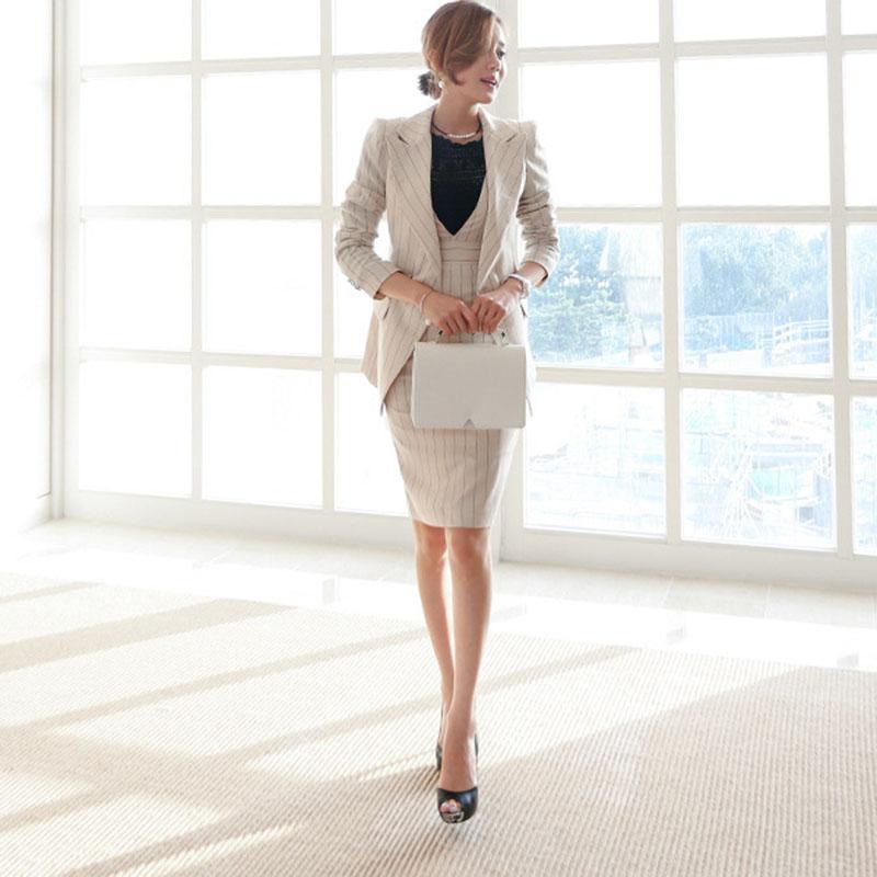[해외]2018 여성 스트라이프 오피스 레이디 드레스 정장 2 2 조각 세트 우아한 노치 재킷 블레이저 + 패션 쉬 시스 드레스 여성/2018 Women Striped Office Lady Dress Suits 2 Two Piece Sets Elegant Notched