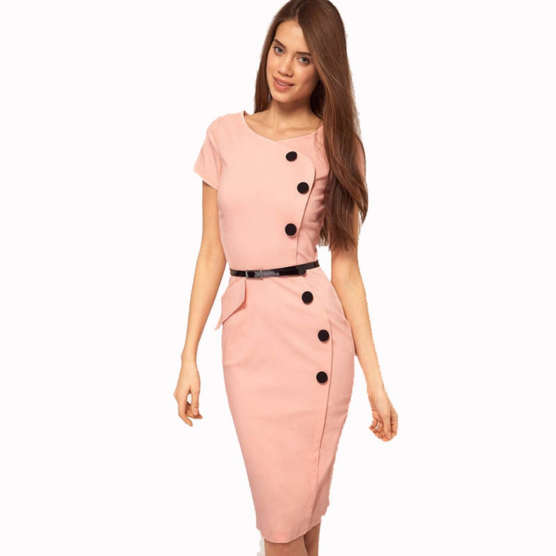 [해외]2018 여성 우아한 자질 단추 짧은 Retail 슬림 원피스 복장 작업 사무실 비즈니스 칵테일 파티 칼집 드레스/2018 Womens Elegant Qualities Buttons Short Sleeve Slim One Piece Dress Suit Work