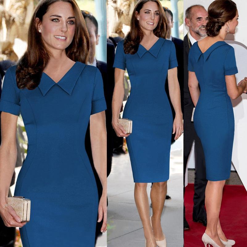 [해외]여성 우아한 빈티지 블루 Peplum Sleeve 캐쥬얼 파티를 통해 볼 Special Occasion Sheath Fitted Bodycon 원피스 Dress Suit/Women Elegant Vintage Blue Peplum See Through Sleev