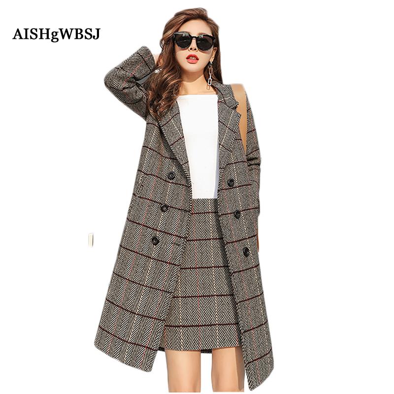 [해외]AISHGWBSJ 여성 봄 모직 2 조각 긴 모직 코트 + 스커트 2018 새로운 격자 무늬 스커트 사무실 숙녀 양복 긴 Retail PL261/AISHGWBSJ  Women Spring Woolen 2 Piece Long  Woolen Coats + Skirt
