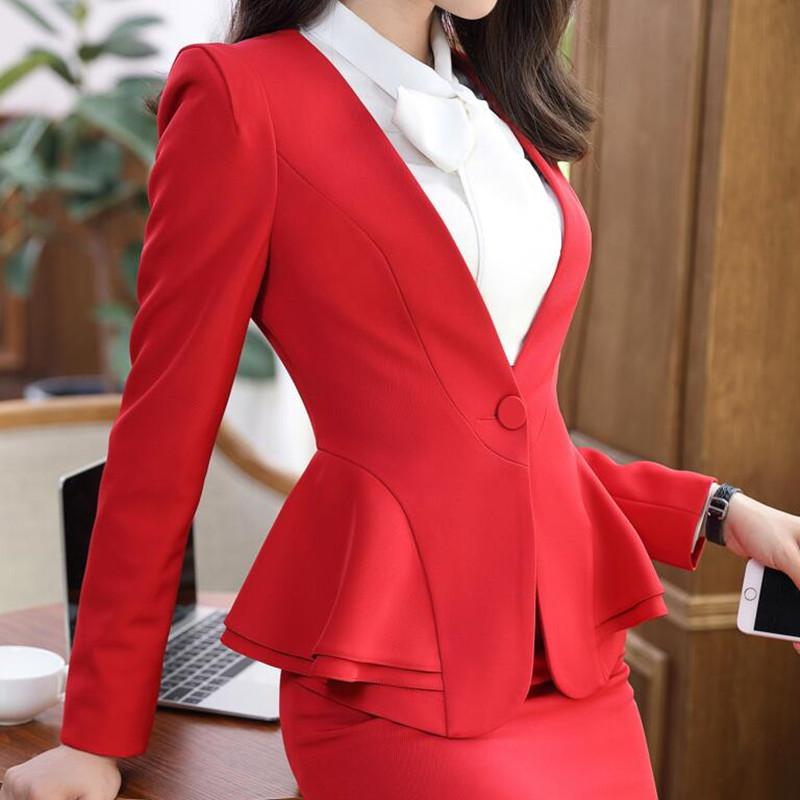 [해외]2018 NEW 봄 여성 & 바지 정장 긴 Retail 프릴 우아한 여성 & 두 세트 세트 업무 사무실 숙녀 의류 작업에 대한 설정/2018 NEW Spring women&s suit pants Long-sleeve Ruffles Elegant w