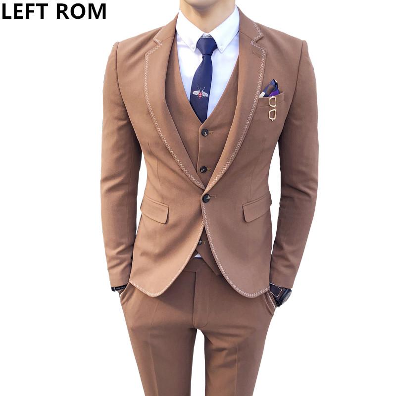 [해외]2018 봄 장식 새 제품 솔기 가장자리 정장 3 피스 남성 & 정장 비즈니스 캐주얼 웨딩 드레스 영국 정장./2018 spring decoration new product seam edge suit three-piece men&s suit busines