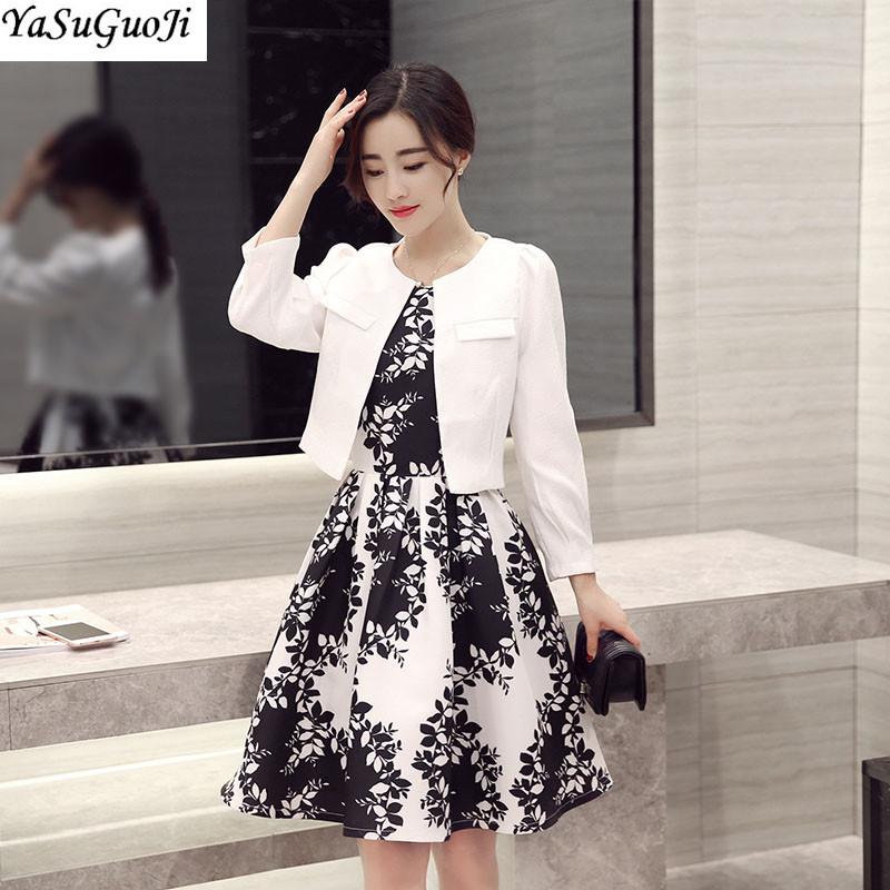 [해외]새로운 2018 봄 패션 흑백 대비 색 리프 프린트 및 슬림 피트 블레 이저 terno feminino 정장 여성 LXF2/New 2018 spring fashion black and white contrast color leaf print dress and s