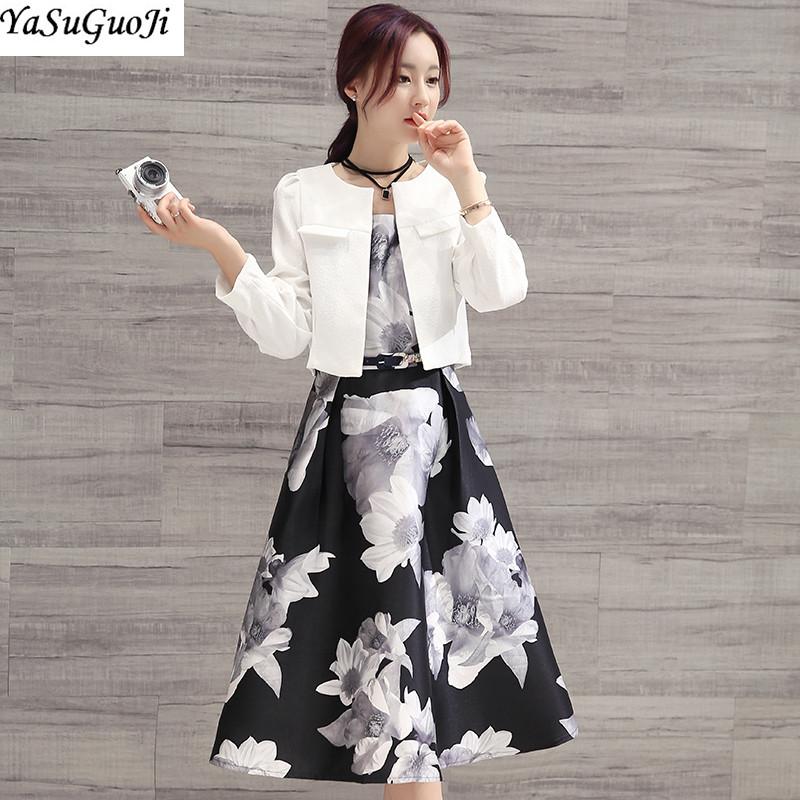 [해외]새로운 2018 봄 패션 꽃 무늬 프린트 민Retail o 넥 드레스 쇼트 슬림 피트 블레 이저 재킷 여성 슈트 terno feminino LXF10/New 2018 spring fashion floral print sleeveless o-neck dresssh