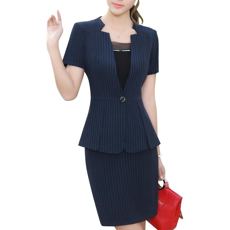[해외]새로운 우아한 패션 여성 스트라이프 스커트 여름 정식 브이 넥 슬림 블레어 및 스커트 사무실 숙녀 플러스 사이즈 작업복/New Elegant fashion women stripe skirt suit summer formal V Neck slim blazer an