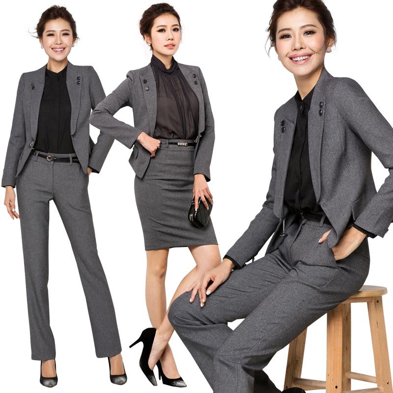 [해외]2016 여성 정장 직장 사무실 긴 Retail 코트 바지 정장 OL 슬림 V 넥 비즈니스 재킷 셔츠 정장 W128 인터뷰/2016 Women  Interview Formal Work Office Long Sleeve Coat Pant Suits OL Slim