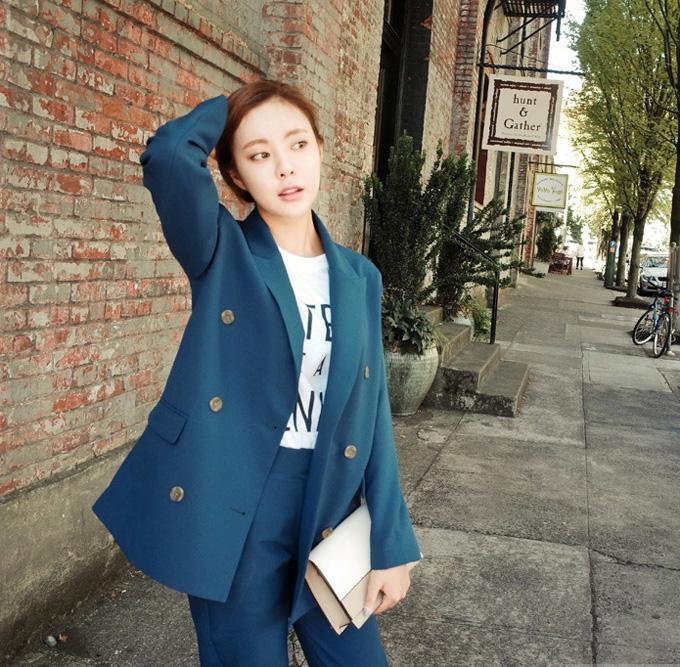 [해외]2016 봄 패션 레저 한국어 간단한 더블 브레스트 두 조각 느슨한 여자 경기 사랑스러운 정장/2016 Spring Fashion Leisure Korean Simple Double Breasted Two Piece Loose Woman all match lov