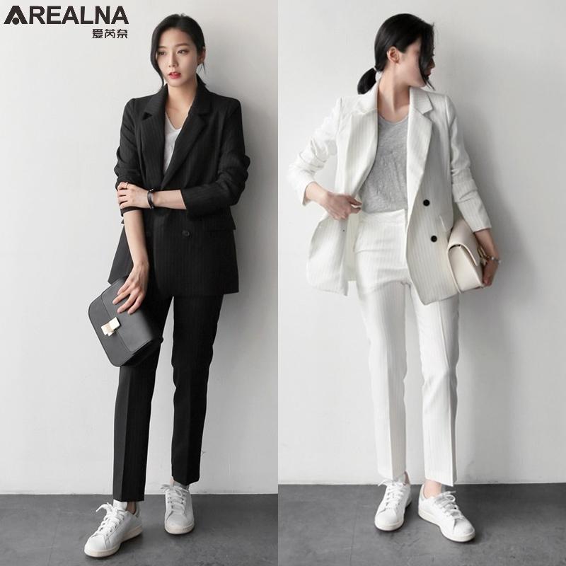 [해외]가을 바지 정장 여성 캐주얼 스트라이프 오피스 비즈니스 정장 정장 작업복 세트 고급 재킷 + 바지 정장 2 개 세트 여성용 정장/Autumn Pant Suits Women Casual stripe Office Business Suits Formal Work We