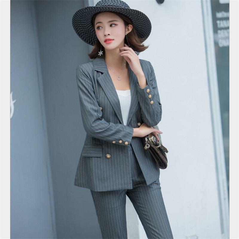[해외]패션 작업 바지 정장 2 조각 세트 캐주얼 스트라이프 재킷 블레이저 & amp; 지퍼 바지 사무실 레이디 유니폼 여성 의상 무제/Fashion Work Pant Suits 2 Piece Sets Casual Striped Jacket Blazer &amp