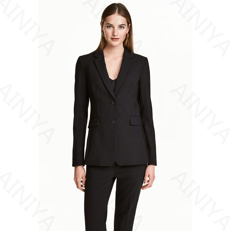 [해외]Blacj Womens Business Suits 블레이저 여성 사무복 두 버튼 숙녀 바지 정장 작업 바지 정장 맞춤 제작/Blacj Womens Business Suits Blazers Female Office Uniform Two Button Ladies T