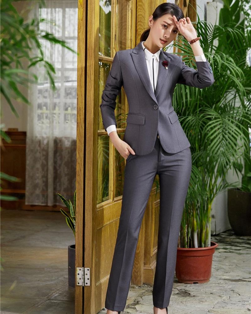 [해외]새로운 스타일 2018 정장 숙녀 그레이 블레이저 여성 비즈니스 정장 바지와 자켓 세트 Office Uniform Designs/New Styles 2018 Formal Ladies Grey Blazer Women Business SuitsPant and Jac