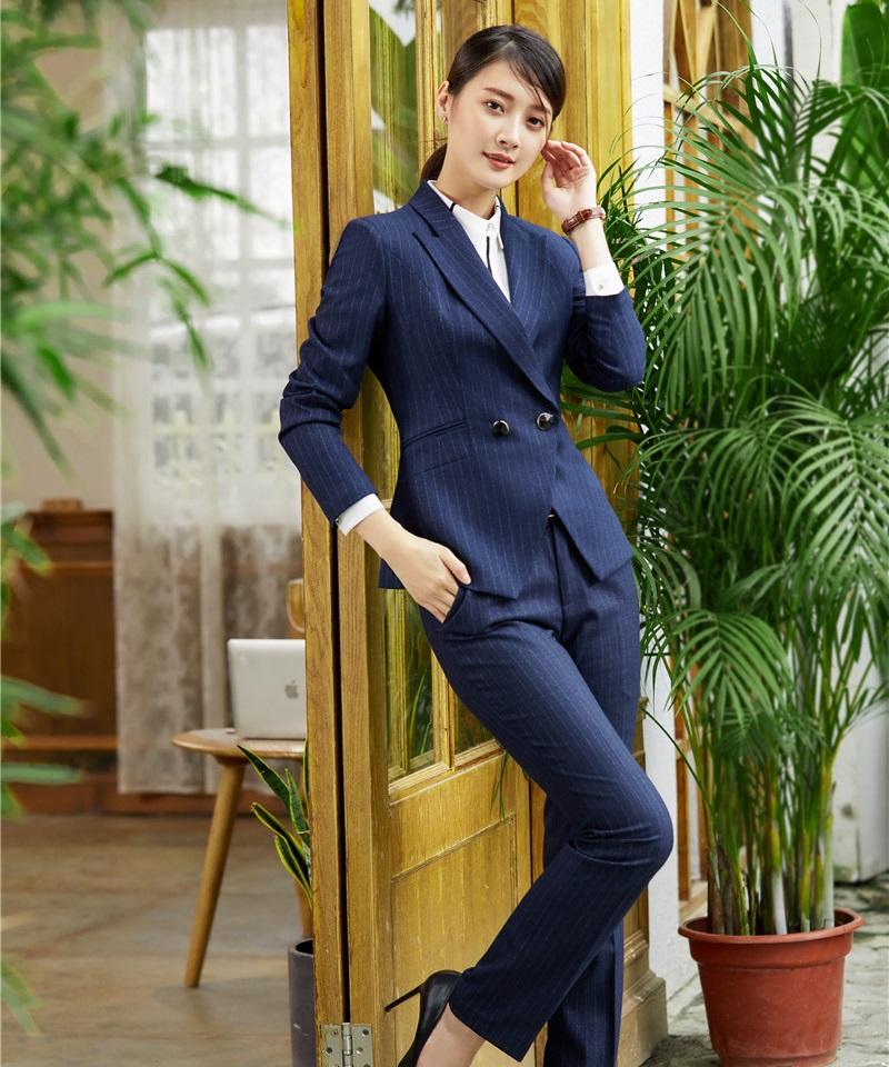 [해외]공식적인 숙녀 파란색 줄무늬 블레이저 여성 비즈니스 정장 및 자켓 세트 우아한 사무실 제복 디자인/Formal Ladies Blue Striped Blazer Women Business SuitsPant and Jacket Set Elegant Office Un
