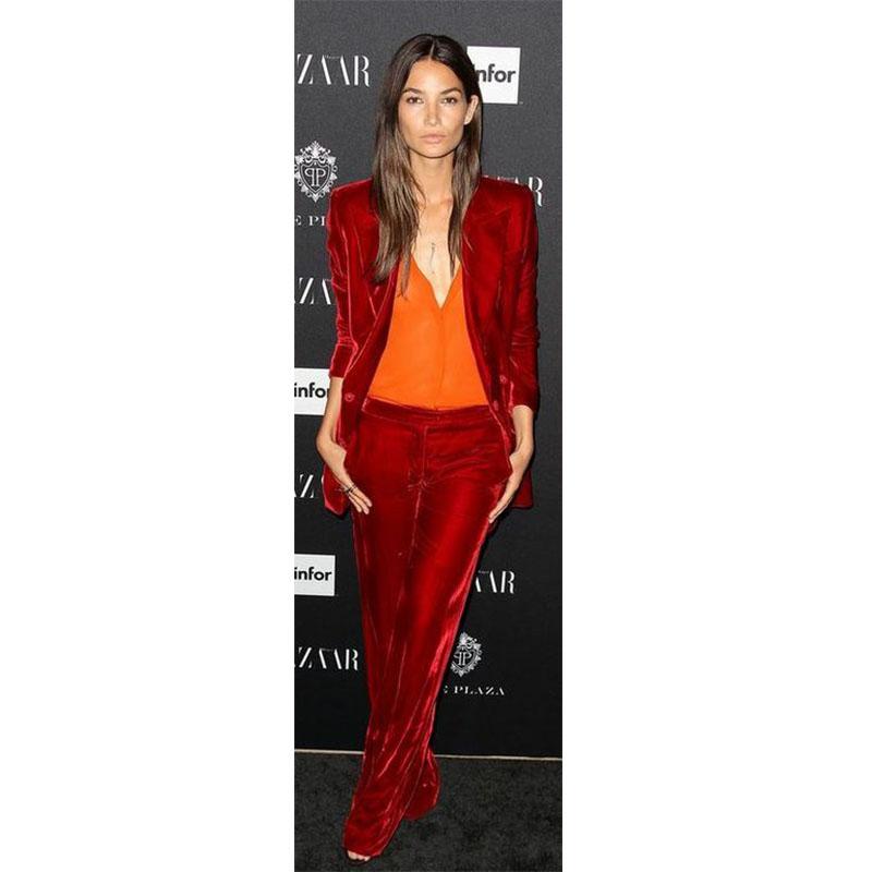 [해외]새 공식 레드 2 조각 세트 여성 비즈니스 정장 벨벳 정장 여성 & 바지 정장 유니폼 숙녀 사무소 우아한 바지 정장 CUSTO/New Formal Red 2 Piece Set Women Business Suits Velvet Suits Women&s Pa