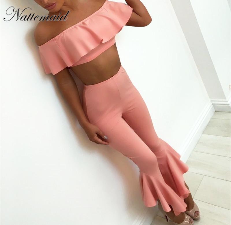 [해외]NATTEMAID 섹시 한 자르기  장식 탑스와 바지 어깨 떨어져 설정 여자 2 조각 세트 여름 스타일 strapless 짧은 티셔츠 긴 바지 정장/NATTEMAID Sexy Crop ruffles Tops and Pants Set off shoulder Wom