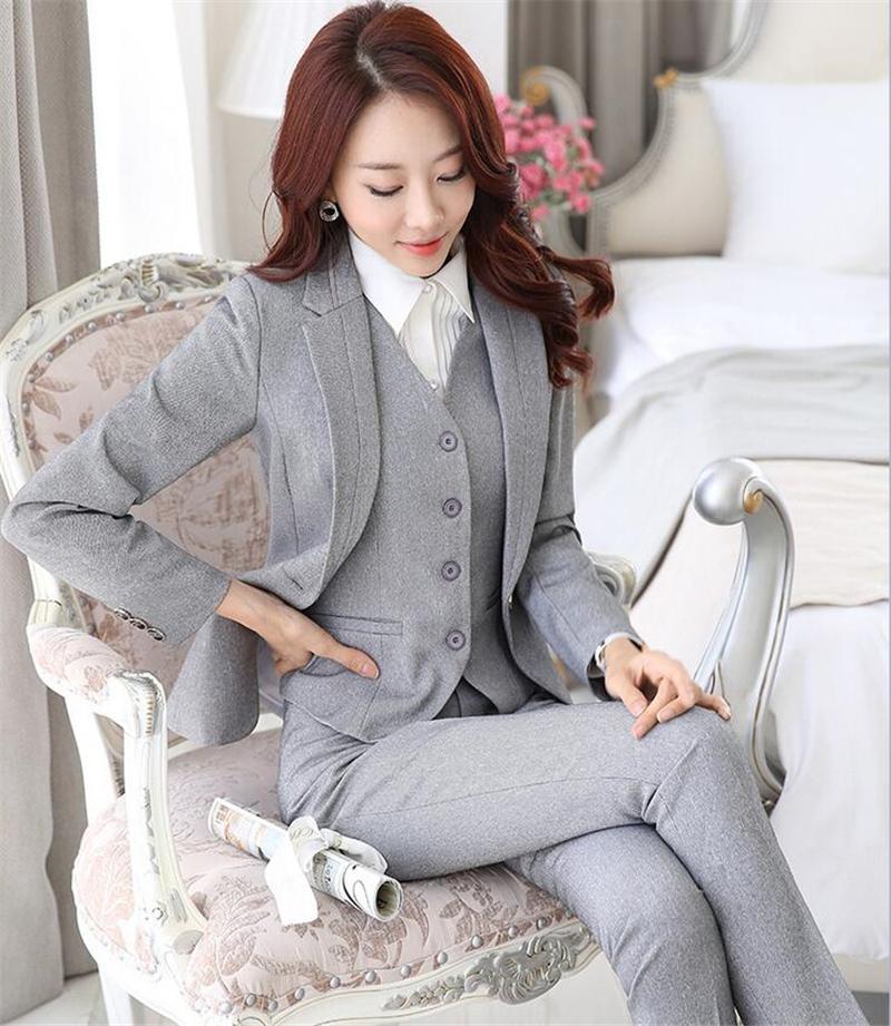[해외]비즈니스 여성을뉴 그레이 블랙 전문 정장 팬츠 정장 OL 블레이저 및 바지/The New Grey Black Professional Formal Pantsuits for Business Women Suits OL Blazer and Pants