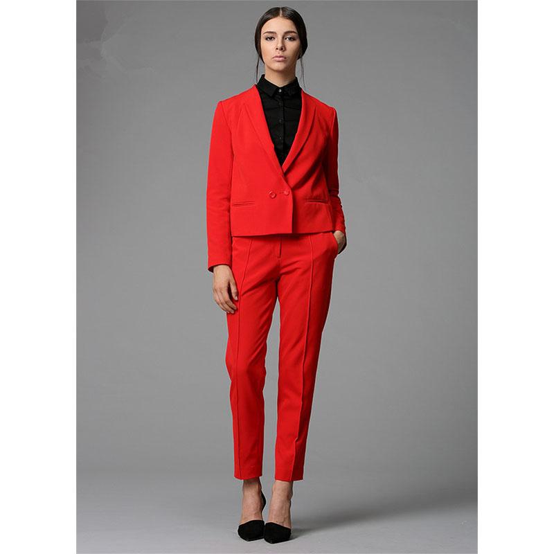 [해외]바지 정장 레드 작업 착용 사업 정장 우아한 여성 바지 정장 블레이저 숙녀 사무복 여성 바지 정장 맞춤 제작/Pants suit Red Work Wear Bussiness Formal Elegant Women Pant Suits Blazers Ladies Off