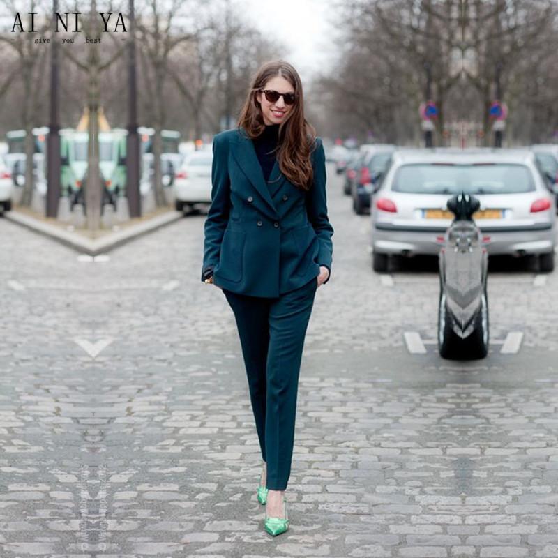 [해외]청록색 2 조각 세트 여성 비즈니스 정장 공식 OL 긴 Retail 더블 브레스트 레이디스 바지 정장 사무실 제복 스타일/Turquoise 2 Pieces Sets Womens Business Suits Formal OL Long Sleeve Double Bre