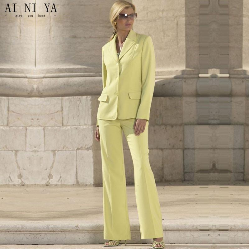 [해외]여성을노란색 공식 양복 Office Business Suitspants Work Wear 2 종 세트 유니폼 스타일 우아한 여성 바지 정장/Yellow Formal Suits for Women Office Business Suitspants Work Wear 2