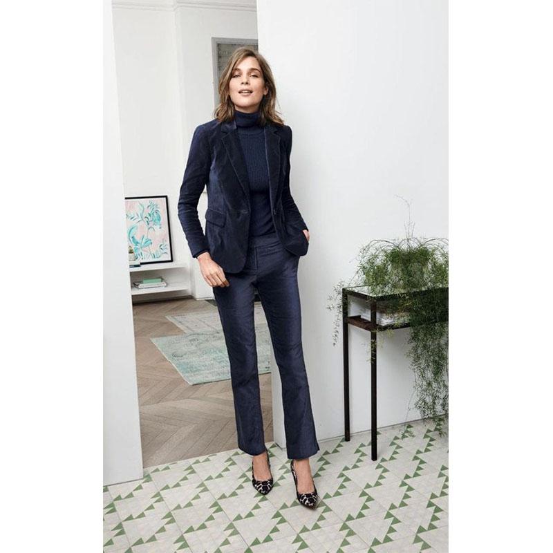 [해외]NEW 2018 네이비 벨벳 2 피스 세트 여성 비즈니스 정장 숙녀 우아한 바지 정장 여성 사무실 유니폼 슬림 여성 바지 정장/NEW 2018 Navy Velvet 2 piece set women business suits ladies elegant pant s