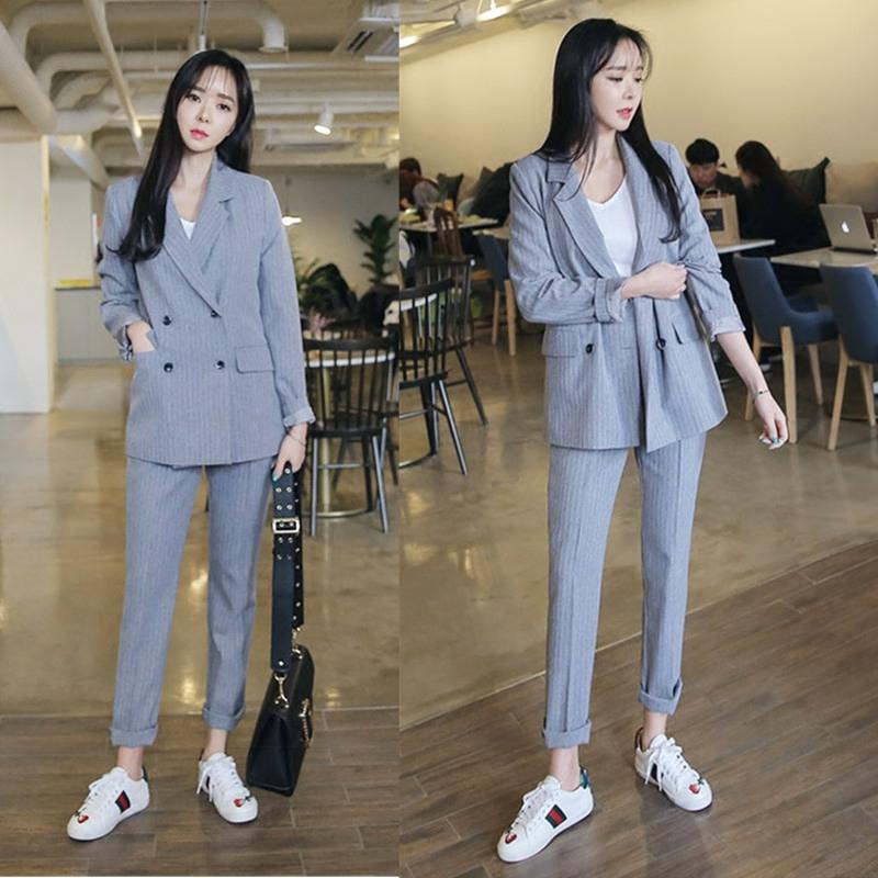 [해외]높은 품질 작업 바지 정장 2 조각 세트 더블 브레스트 스트라이프 재킷 자 켓 & amp; 지퍼 바지 사무실 숙녀 정장 여성 복장 씨./high quality Work Pant Suits 2 Piece Sets Double Breasted Striped