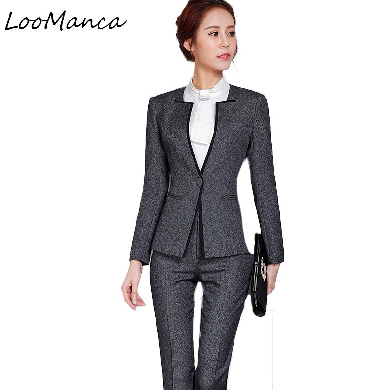 [해외]여자 2 조각 비즈니스 블레 이저 정장 세트 겨울 가을 슬림 전문 바지 정장 패션 공식 레이디스 사무복/Women 2 Piece Business Blazer Suit Set Winter Autumn Slim Professional Pant Suits Fashio