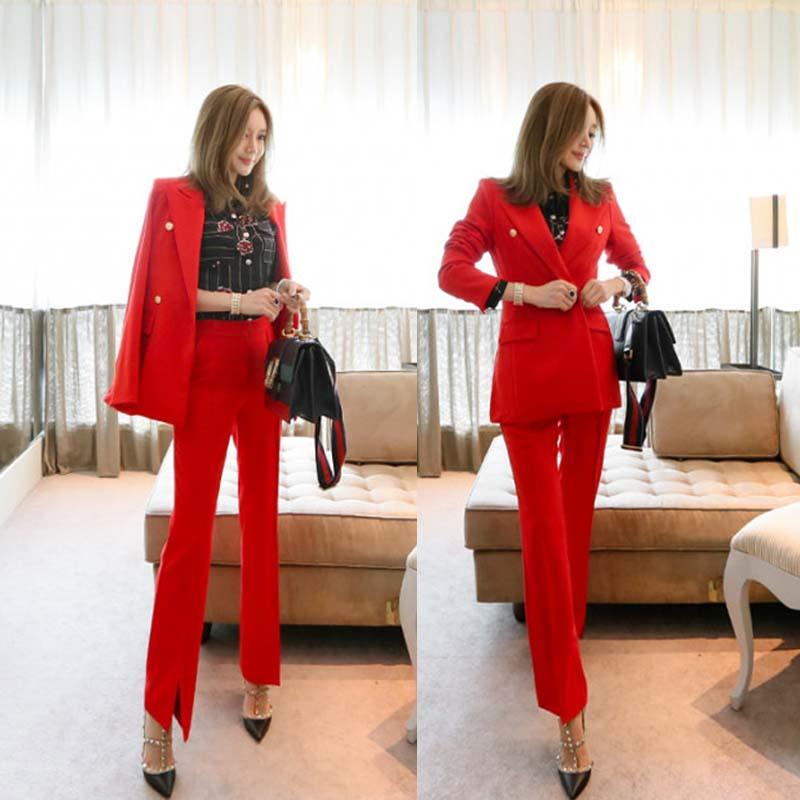 [해외]빨간 정장 정장 여성 2018 새로운 패션 분할 플레어 바지 슬림 얇은 정장 재킷 2 조각 OL 직업 T를 설정했다/Red suit suit female 2018 new fashion split flared trousers Slim was thin suit ja