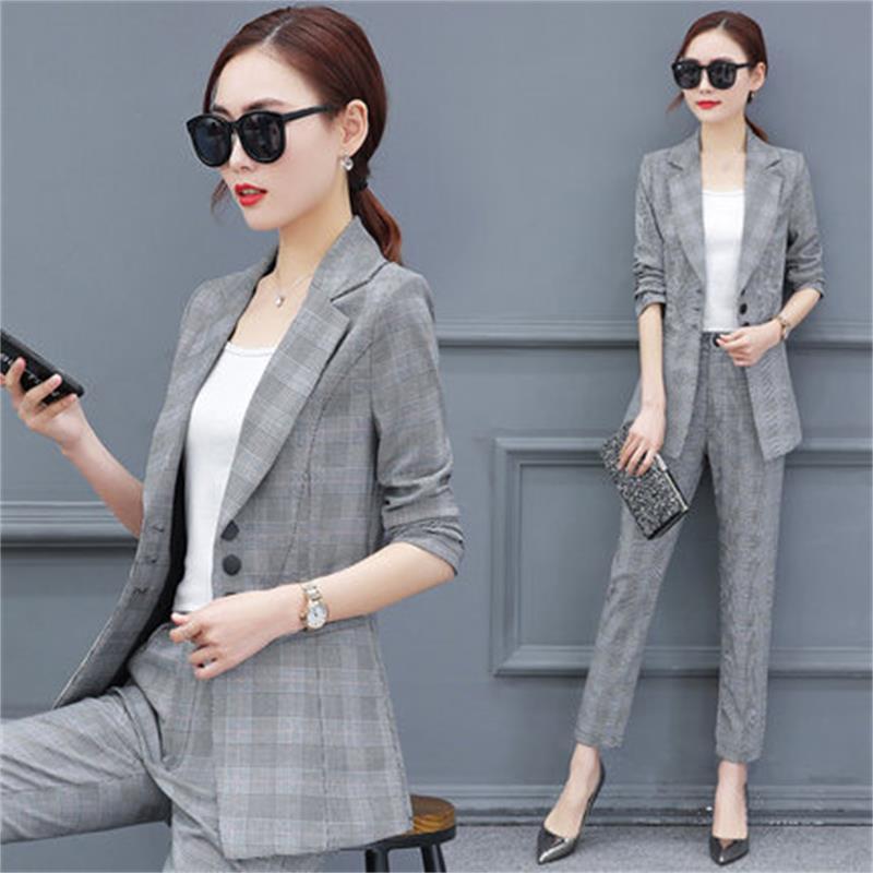 [해외]패션 정장 여성 2018 봄 새로운 격자 정장 - 긴팔 재킷 전문적인 착용 봄과 가을 재킷 두 세트/Fashion suit female 2018 spring new lattice suit long-sleeved jacket professional wear spr
