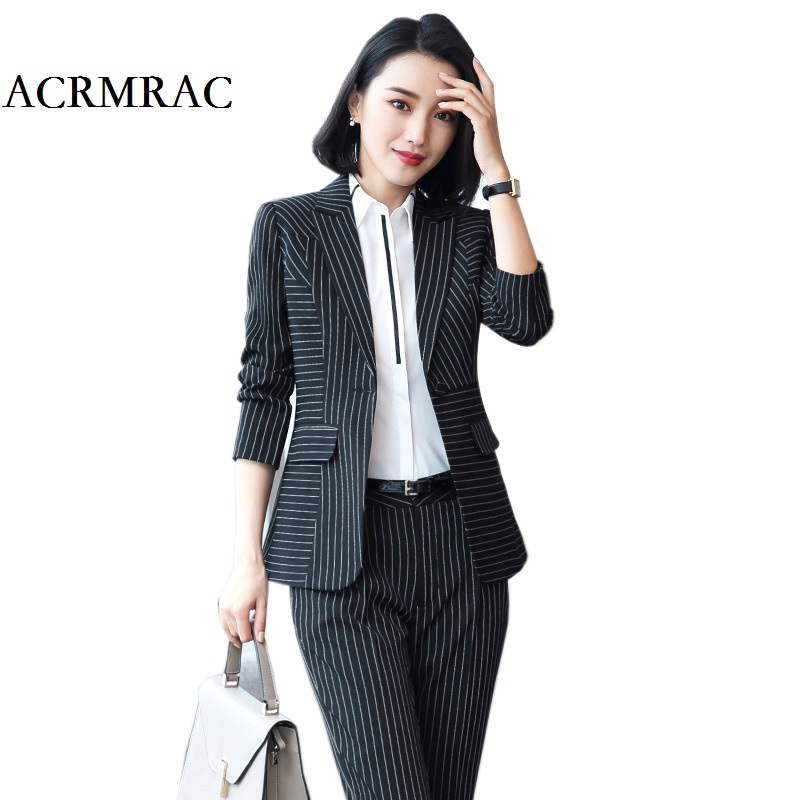 [해외]ACRMRAC 여성 2018 뉴 여름 스트 라이프 긴 Retail 슬림 재킷 발목 길이 바지 비즈니스 OL 공식적인 바지 정장/ACRMRAC Women 2018 New summer stripe Long sleeves Slim jacket Ankle-Length