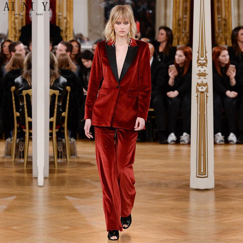 [해외]새로운 2017 부르고뉴 Velevt 더블 브레스트 2 조각 여성 비즈니스 정장 정장 사무실 정장 검은 옷깃 여성 바지 정장/New 2017 Burgundy Velevt Double-Breasted 2 piece women business suits formal