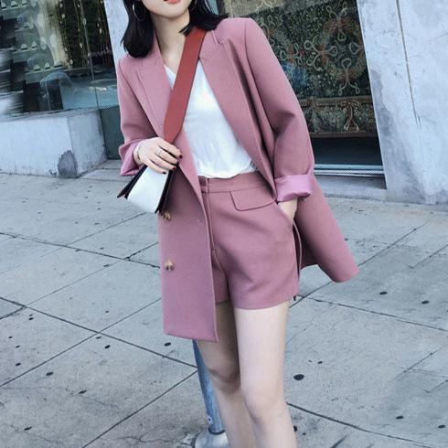 [해외]?긴 단락 작은 정장 재킷 여성 캐주얼 정장에 새 봄 = 두 그림 / 1 세트 와이드 레그 반바지/ spring new in the long paragraph small suit jacket female casual suit= two pic / 1 set wid