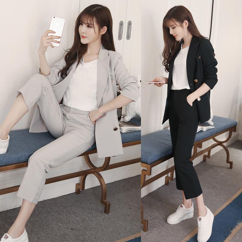 [해외]새 봄 가을 전문 Pantsuits 재킷 및 바지 Office 숙 녀 비즈니스 여성 바지 정장 여성 바지 세트/New spring Autumn Professional PantsuitsJackets And Pants Office ladies Business Wom