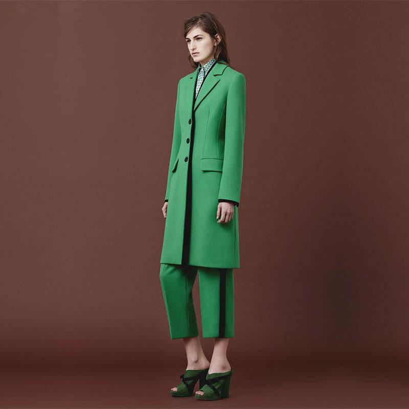 [해외]녹색 여성 바지 정장 가을 우아한 공식적인 사무실 제복 스타일 슬림 2 조각 세트 블레 이저 여성 롱 자켓 숙녀 바지 정장/Green Women Pant Suits Autumn Elegant Formal Office Uniform Style Slim 2 Piec