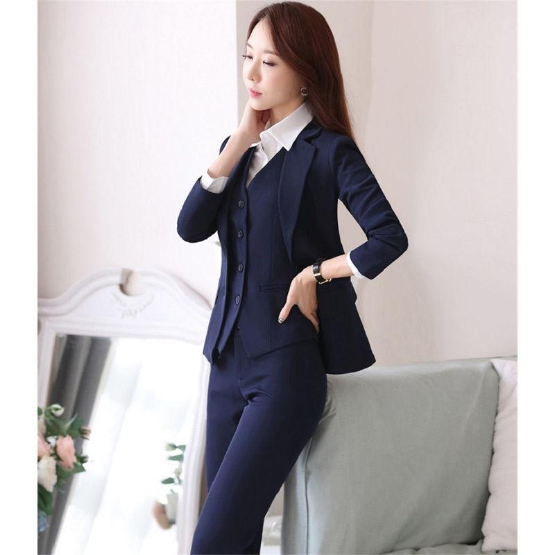 [해외]맞춤형 해군 블루 정장 여성 정장 저녁 바지 정장 여성 사무실 통일 여성 턱시도 B95/Tailored Made Navy Blue Formal Women Suits Evening Pant Suits Female Office Uniform Womens Tuxedo